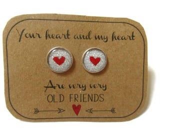 HEART Stud EARRINGS - Best Friend Earrings - Best Friend Gift - BFF - Best Friend Studs - Make A Wish - Best Friend Jewelry - Heart