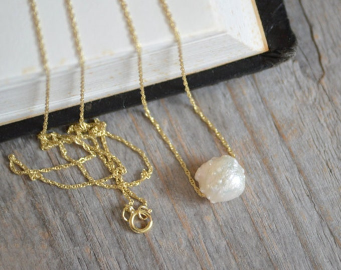 Fresh Water Pearl Necklace In 9ct Yellow Gold, June Birthstone Gift, Baroque Pearl Necklace, Simple Pearl Gift