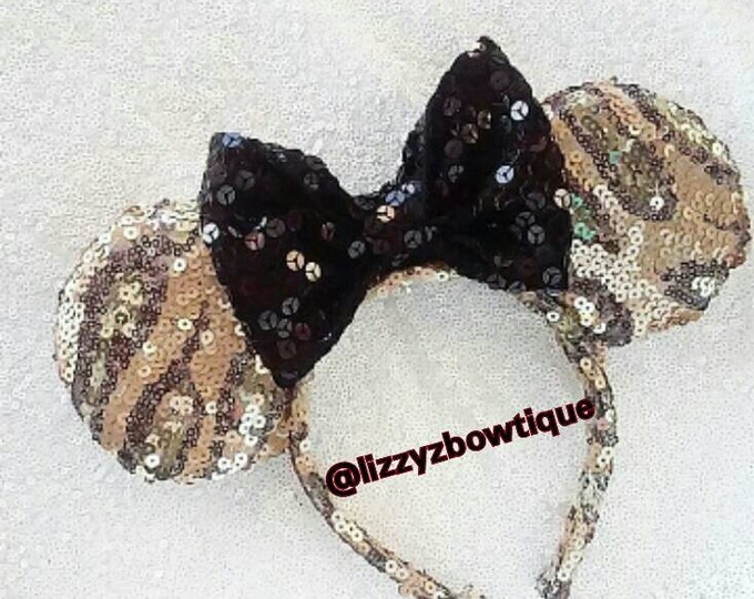 Animal Kingdom Print Sequin Minnie ears with any color sequin bow