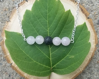 Rose Quartz and Lava Bead Bar Necklace for use with Essential Oils