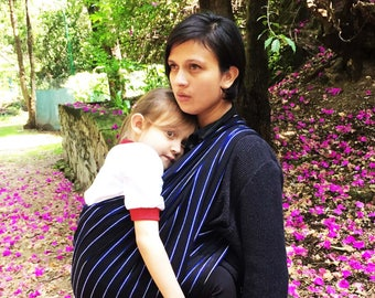 Baby Wrap Carrier Mexican Tliltik Black with blue stripes Wrap 5,5 yards