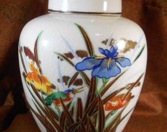 Vintage TOYO hand painted crazed finish ginger jar with iris flowers and kingfisher, ginger jar, TOYO, vase, iris, kingfisher, home decor