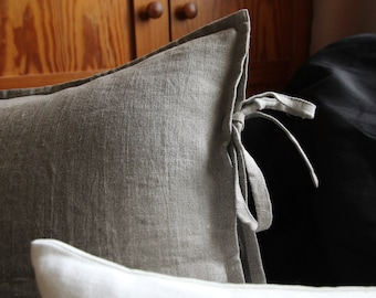 Natural linen sham - euro shams - rustic bedding - undyed linen pillow cover by Linenspace | 0020