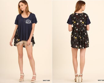 Monogram Umgee Brand High Low Short Sleeve Top with Floral Print Back Boutique Clothes