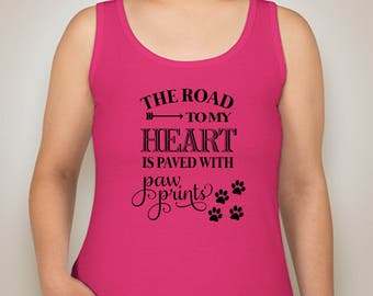 The Road To my Heart Tank Top-Ladies Dog Apparel