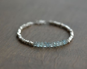 Aquamarine Beaded Bracelet, March Birthstone, Beaded Bracelet, Sterling Silver Bracelet, Hill Tribe Silver beads Bracelet (0094B)