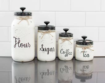 Set of 4 Mason Jar Canisters with Wording
