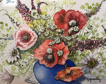 Large Vintage Watercolour Wild Flower Framed Picture - Spring Red Poppy Flower Painting - Hand Painted Vintage Flowers Botanical Watercolour