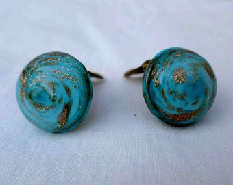 Vintage Fifties Italian Light Blue & Golden Swirls Murano Glass Clip on Earrings Made in Italy