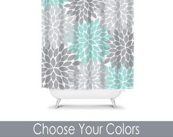 aqua and gray shower curtain. Aqua Gray SHOWER CURTAIN  Flower Bathroom Custom MONOGRAM Personalized Decor Bath Coral Navy
