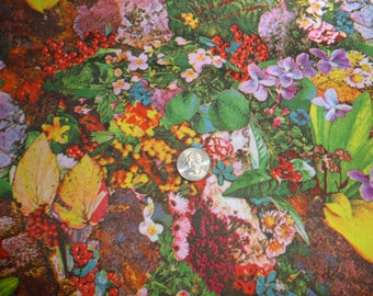 62 Inches Wide 1 1/2 Yds VINTAGE Print Fabric 100% Polyester Floral and Ferns Photo Print Circa 1970's
