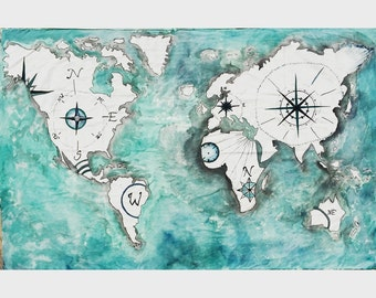 HOLIDAY SALE 25% OFF - World Atlas Tapestry Painting