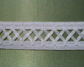 Vintage White Lattice Trim Millinery Quality 2 Yards