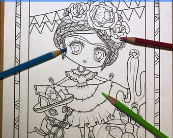 Cinco De Mayo Chibi Doodle Fantasy Anime Manga Coloring Page for Adult Coloring PDF download by JennyLuanArt