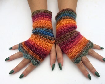 Arm Warmers Fingerless Gloves wristwarmer gloves winter accessory, women gift fingerless mittens, autumn gloves, winter gloves, hand crochet