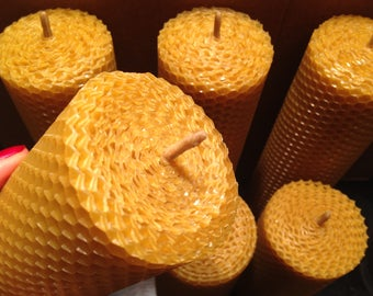 Pure beeswax thick candles / natural beeswax pillar Candles / handmade Rolled Honeycomb Candles