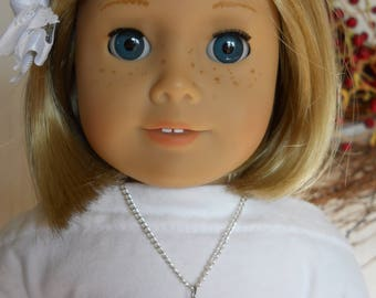 """Necklace for 18"""" Dolls Shamrock 4 Leaf Clover Necklace with Chain for American Girl Type Dolls"""