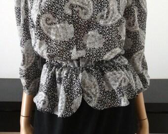 Vintage 80s peplum black cashmere dress size 40 - uk 12 - us 8