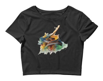 Women's  Tee Short Sleeve Cropped cotton T-Shirt Arabic calligraphy design Draft