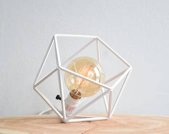 "The ""Mini"" Mercedes Geometric Table Lamp, WHITE Table Lamp with Edison Globe Bulb"