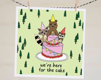 Funny Birthday Card Boyfriend | Handmade Best Friend Birthday Card | Birthday Gift | Birthday Cards| We're Here for the Cake Birthday Card