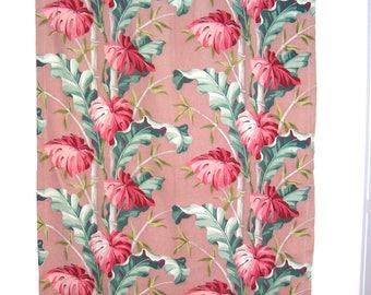 Barkcloth Panels 2 Vintage Tropical Fabric Curtains Tiki Florida Deco MCM