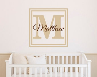 Personalized Initial Name Wall Decal- Monogram Wall Decal- Name Initials Wall Decal For Bedroom Nursery Kids Family Wall Art Home Decor M028