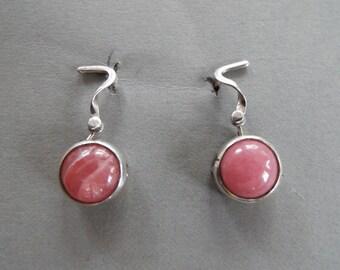 sterling silver Rhodochrosite dangle hinged  earrings