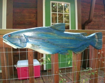 "Blue Catfish 30"" chainsaw wood carving log cabin home wall mount restaurant decor original woodworking fish sculpture lake lodge rustic art"