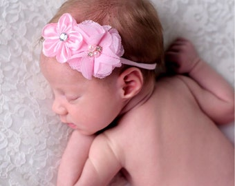 Baby Headband..ReadY to Ship.... SALE PRICED...mini chiffon and satin flower Collection...YOur Choice of Headband....Newborn Collection..