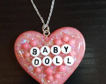 Resin Pink Heart Fairy Kei Pastel Goth Silver Chain Necklace