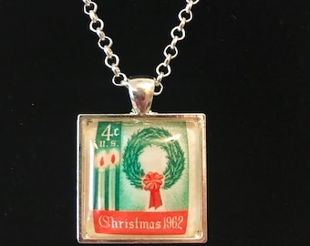 Vintage Christmas Postage Stamp Necklace