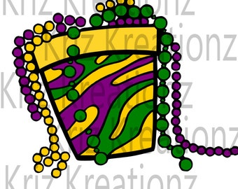 Bucket of Mardi Gras Beads svg cut file
