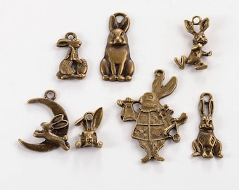 "Set of 7 charms themed bronze ""Rabbits"" (BR048)"