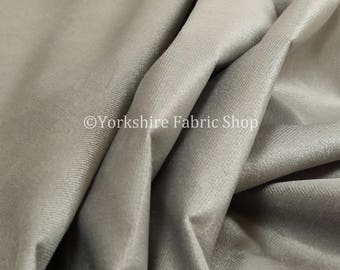 New Soft Quality Low Velour Chenille Velvet Silver Curtain Furnishing Upholstery Fabric - Sold By The 1 Metres Fabric