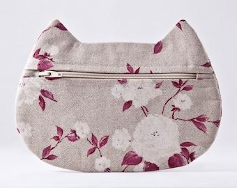Cosmetic Bag, Cat Lover Gift, Cat Bag, Beige Makeup Bag, Cat Makeup Pouch, Cute Zipper Pouch, Toiletries Bag, Floral Cosmetic Bag