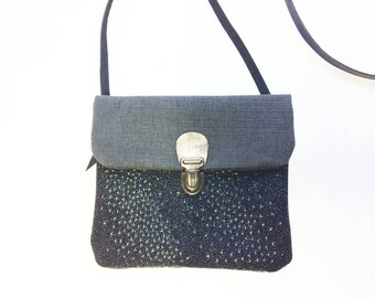Evening chic clutch, small shoulder bag in a starry black leather and grey canvas, leather shoulder strap, christmas gift