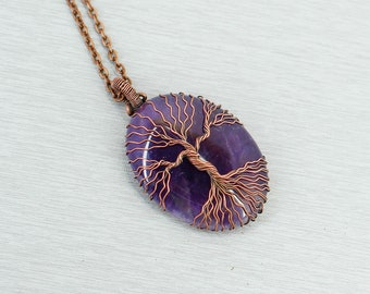 Family tree necklace Tree of life pendant Amethyst jewelry Mother in law gift for sister birthday gift for dad gift for husband gift for her
