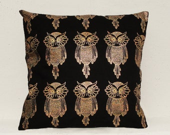 Gold owl pillow cover, Gold Cushion Cover, Geometric Pillow Case