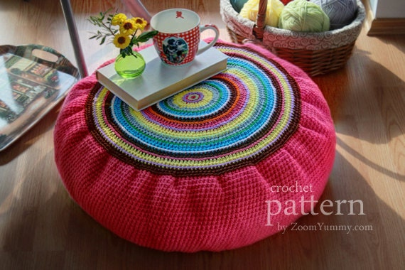 Crochet Pattern Colorful Crochet Floor Cushion Pattern No.