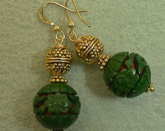 Vintage Chinese RARE Green Cinnabar Red Dangle Drop Bead Earrings, Ornate Gold Bead,Gold French Ear Wires- GIFT WRAPPED