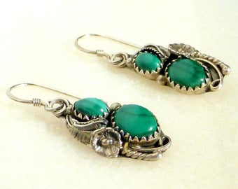 Navajo Sterling Silver and Malachite Blossom and Feather Earrings, Signed.