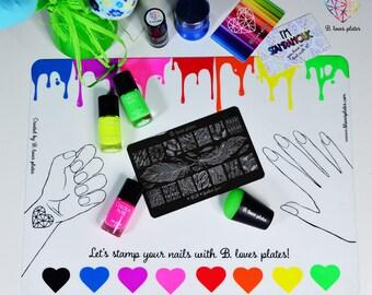 Stamping set! -50% stamping plate + stamping mat  (B. Loves Plates)