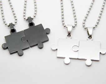 Valentine love couple necklaces boyfriends PUZZLE steel