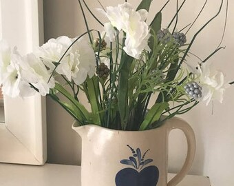 Antique french Pitcher Flower Arrangement glazed pottery Base with a Heart French country farm pottery  handmade pottery  Rustic kitchen Jar
