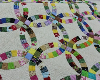 Heirloom Quality quilt, Double Wedding Ring quilt, Handmade quilt, Wedding quilt, Full size quilt, queen size quilt, king size quilt,