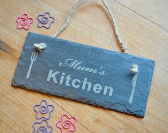 Mum's Kitchen Personalised Slate Sign
