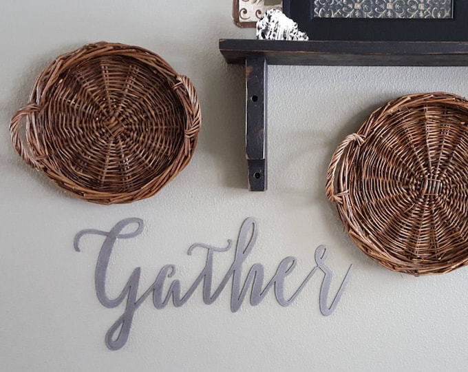 Gather, Word Signs, Metal Word Signs, Farmhouse Decor, Rustic Signs, Rustic Metal Signs, Rustic Decor, Farmhouse Signs, Metal Sign, Word art