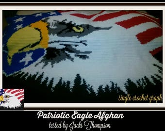 Patriotic Eagle SC Graph, Word Chart, Patriotic Eagle Afghan