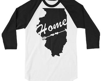 Illinois, State Home, Chicago, Illinois Home 3/4 sleeve raglan shirt